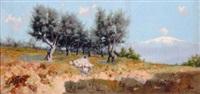 rural scene with shepherd and flock by eremino kremp