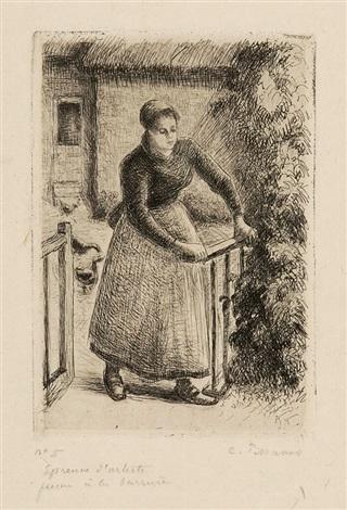 femme à la barrière by camille pissarro
