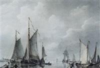 flusslandschaft mit fischerbooten by frans jacobus van den blyk