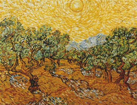 olive trees with yellow sky after vincent van gogh pictures of pigment by vik muniz