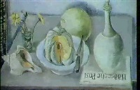 stilleben mit muschel und melone by arthur kaufmann