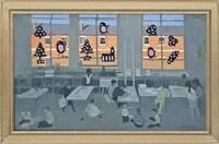 classroom with christmas decorations by andrew macara