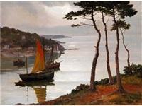 landschaft mit einer flussmündung und segelschiffen by marie coulon-serra