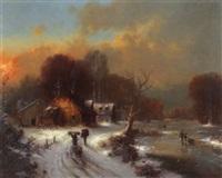 winterabendlandschaft mit eisläufern by g. konig