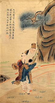 a fine chinese painting attributed to ren renfa by ren renfa