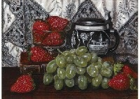 strawberry and grapes by masahiko yamanaka