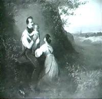 der abschied des soldaten von frau und kind, vor waldhang  und ausblick in landschaft by heinrich august mansfeld
