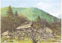 spring, mt. fuji, village and mountain (3 works) by shigeo ishikawa