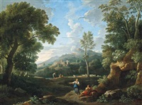 a wooded river landscape with classical figures conversing, towns beyond by jan frans van bloemen