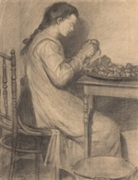 joven pelando patatas by ventura alvarez sala