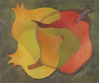 abstraktes stillleben mit granatäpfeln by ernst a. maass