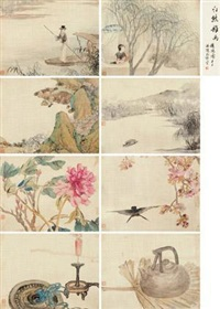 杂画册 (various natures) (album of 8) by ren xiong