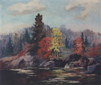 landscape with a stream by c.h. dunning