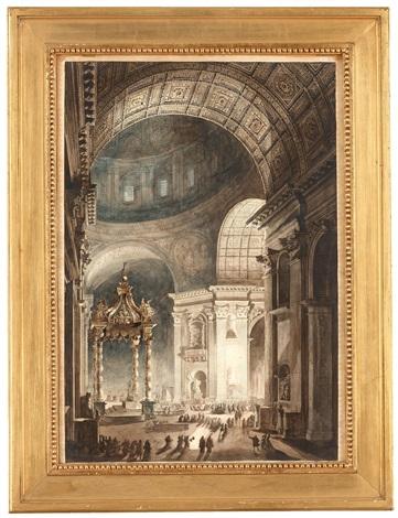 illumination de la croix de saint pierre à rome det brinnande fastlagskorset i peterskyrkan by louis jean desprez