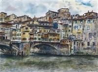 blick auf ponte vecchio in florenz by ernst holzhäuser