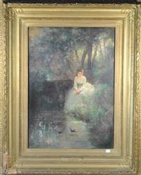 jeune femme au bord de l'eau by eugène verdyen