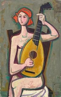 mädchen mit gitarre by karl hofer