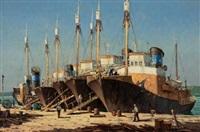 boats at dock by nils severin andersen