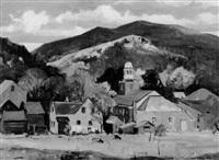 village and pastures, autumn by charles curtis allen