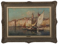 view of a mediterranean port, martigues by merio ameglio