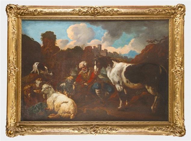 alter hirte mit seiner kleinen herde von schafen ziege und pferd vor einer bewölkten italienischen berglandschaft by philipp peter roos