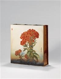 「醉红」镶器 (square vase) by wang qingli