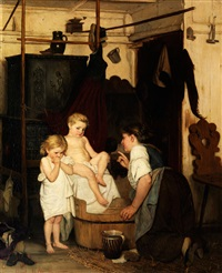 kindliche scheu vor dem bade by gustav igler