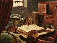 still life with books and globe by ludwig valenta