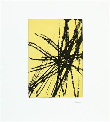 composition in yellow and black by hans hartung