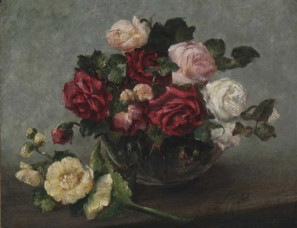 stillleben mit rosen und malven by anton azbe