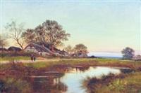 figures near a village pond by john bates noel