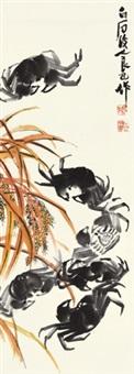 秋蟹 立轴 设色纸本 by qi liangsi