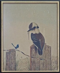 kookaburra and blue wren by neville william cayley