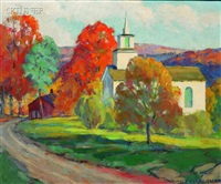 autumn view with church by chauncey m. adams