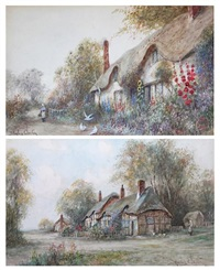 cottage at evesham (+ a warwickshire cottage; pair) by james hughes clayton