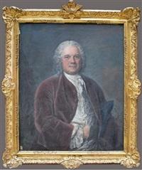 portrait de gentilhomme en veste lie de vin by jacques andré joseph aved