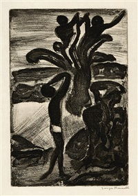 bon électeur. - incantation (2 works from réincarnations du père ubu) by georges rouault
