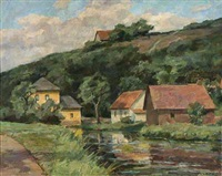 sommertag am dorfteich by karl krummacher