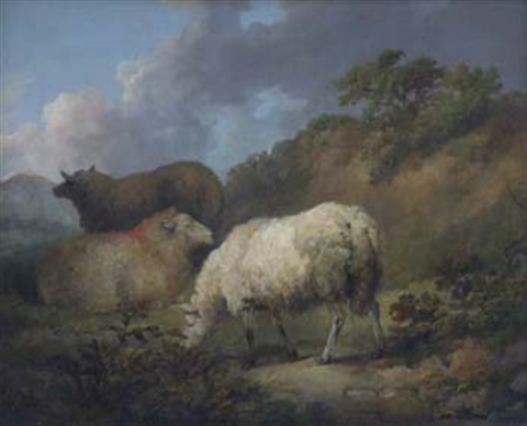 sheep on a hillside by george morland