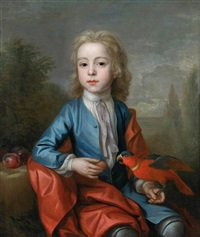 portrait of a boy feeding plums to a crimson rosella by charles d' agar