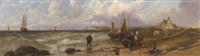 fisherfolk gossiping on the shore by a.c. duke