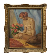 portrait of a nude reading a book by philippe de rougemont