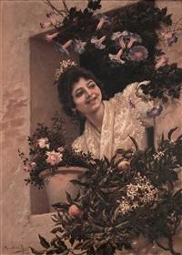 muchacha joven con flores en la ventana by manuel de la rosa