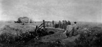 versorgung der feldarbeiter bei der kornernte by george godfrey