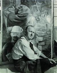 george grosz (vor seinem gemälde stützen der gesellschaft) by j. neven du-mont