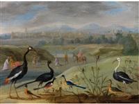 exotische vögel in fernöstlicher landschaft by jan van kessel