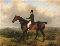 equestrian figure, fox hunt in distance by george henry laporte