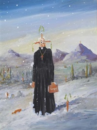 priest in the snow by george condo