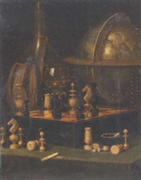 stilleben mit schachspiel by eduard haaga