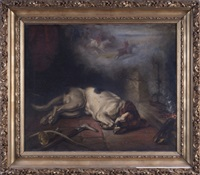 foxhound before a fire, dreaming of the hunt by george earl